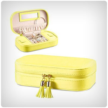 Vlando Small Travel Tassel Jewelry Box Organizer