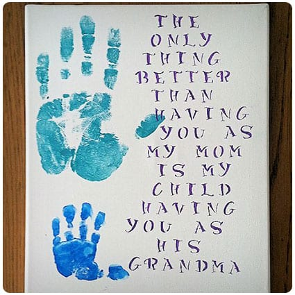 Diy Handprint Gift For Grandparents