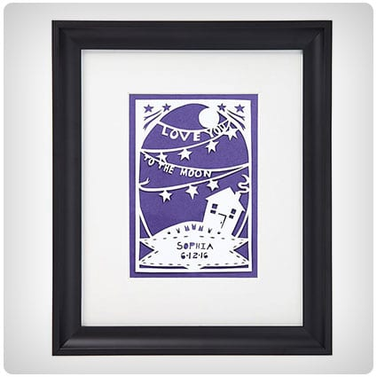 Love You To The Moon Personalized Papercut
