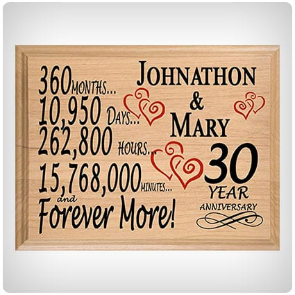 Broad Bay Personalized 30th Anniversary Wood Plaque