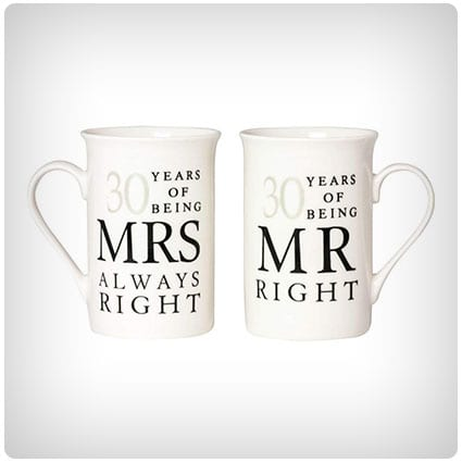 Ivory 30th Anniversary Mr Right & Mrs Always Right Mug Gift Set