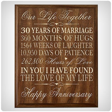 LifeSong Milestones 30th Anniversary Wall Plaque