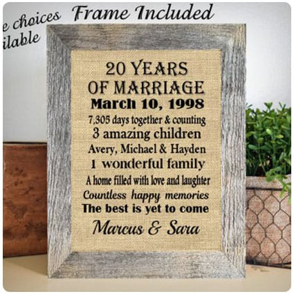 Personalized Framed Burlap Wall Hanging