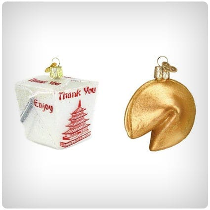 Chinese Take Out Box and Fortune Cookie Ornaments
