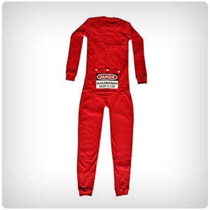 Kids Danger Blast Area Sign Rear Flap Pajamas