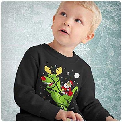 Funny Long Sleeve Kids T-Shirt Small Green Big Trex Santa Ugly Christmas Sweater Style