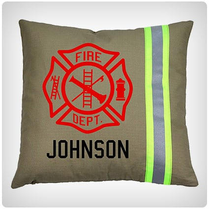 Firefighter Maltese Cross Pillow with Personalized Name