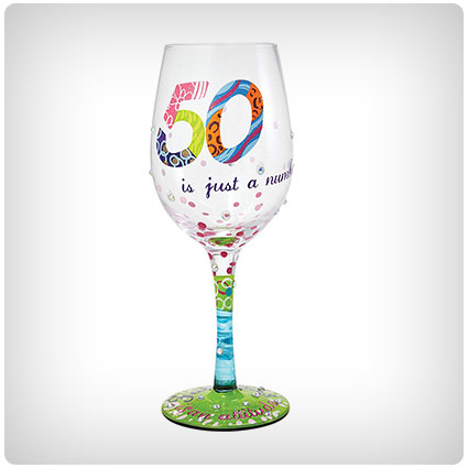 50 is Just a Number Hand-painted Artisan Wine Glass