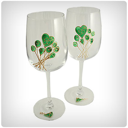 55th Wedding Anniversary Pair of Wine Glasses