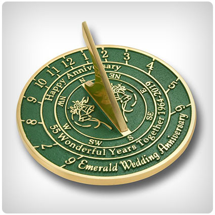 Emerald Wedding Anniversary Sundial Gift