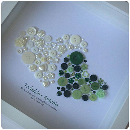 Personalised Emerald Anniversary Button Art