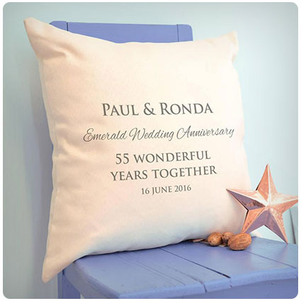 Personalised Emerald Wedding Anniversary Cushion