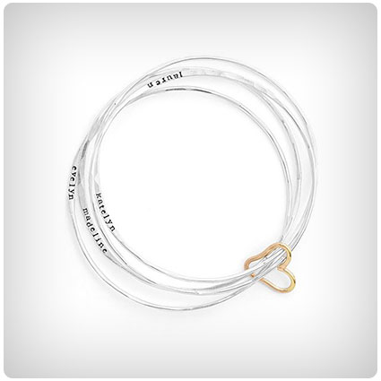 Personalized All Heart Bangle Set