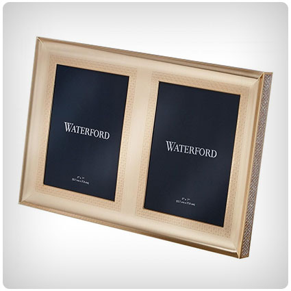 Waterford Lismore Diamond Gold Double Frame