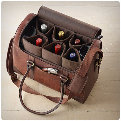 Leather BYO Weekender Wine Bag
