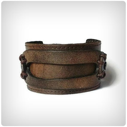 Thick Genuine Leather Rustic Style Wide Cuff Bracelet