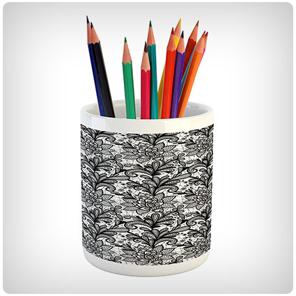 Ambesonne Black and White Pencil Pen Holder