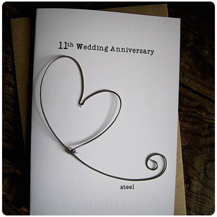 Anniversary Keepsake Card Steel Wire Heart