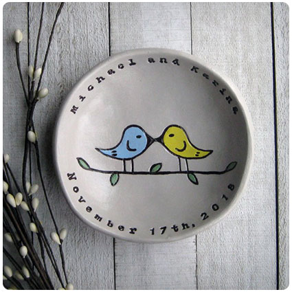 Personalized Love Birds Ring Bowl