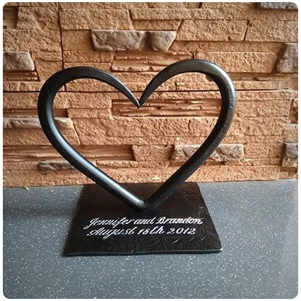 Steel Personalized Heart with Hand Carved Lettering
