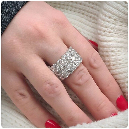 White Gold Halfway Multi-Row Natural Diamond Ring