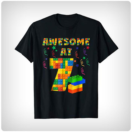 Awesome at 7 Building Blocks Birthday Shirt