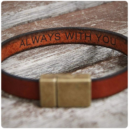 Hidden Secret Message Leather Bracelet