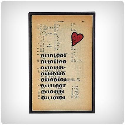 Binary I Love You Vintage Print