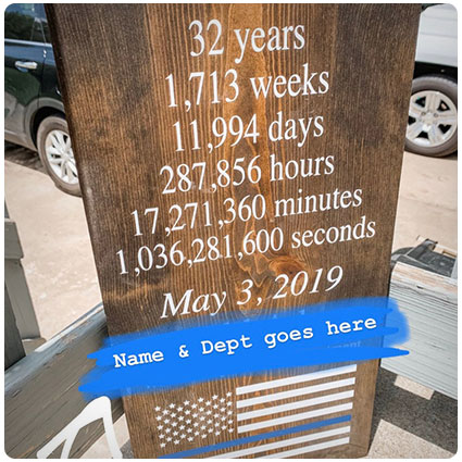 Personalized Wooden Police Retirement Sign