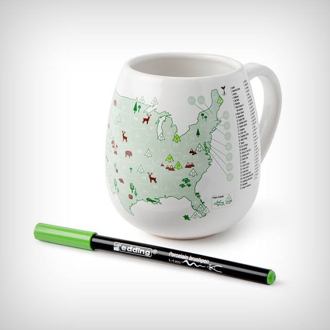 National Parks Color Map Mug