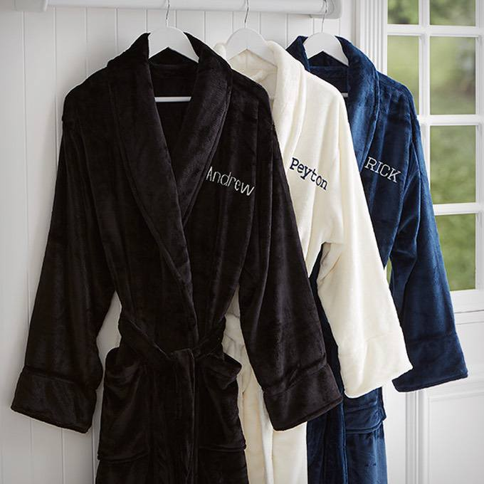 Embroidered Luxury Fleece Robe