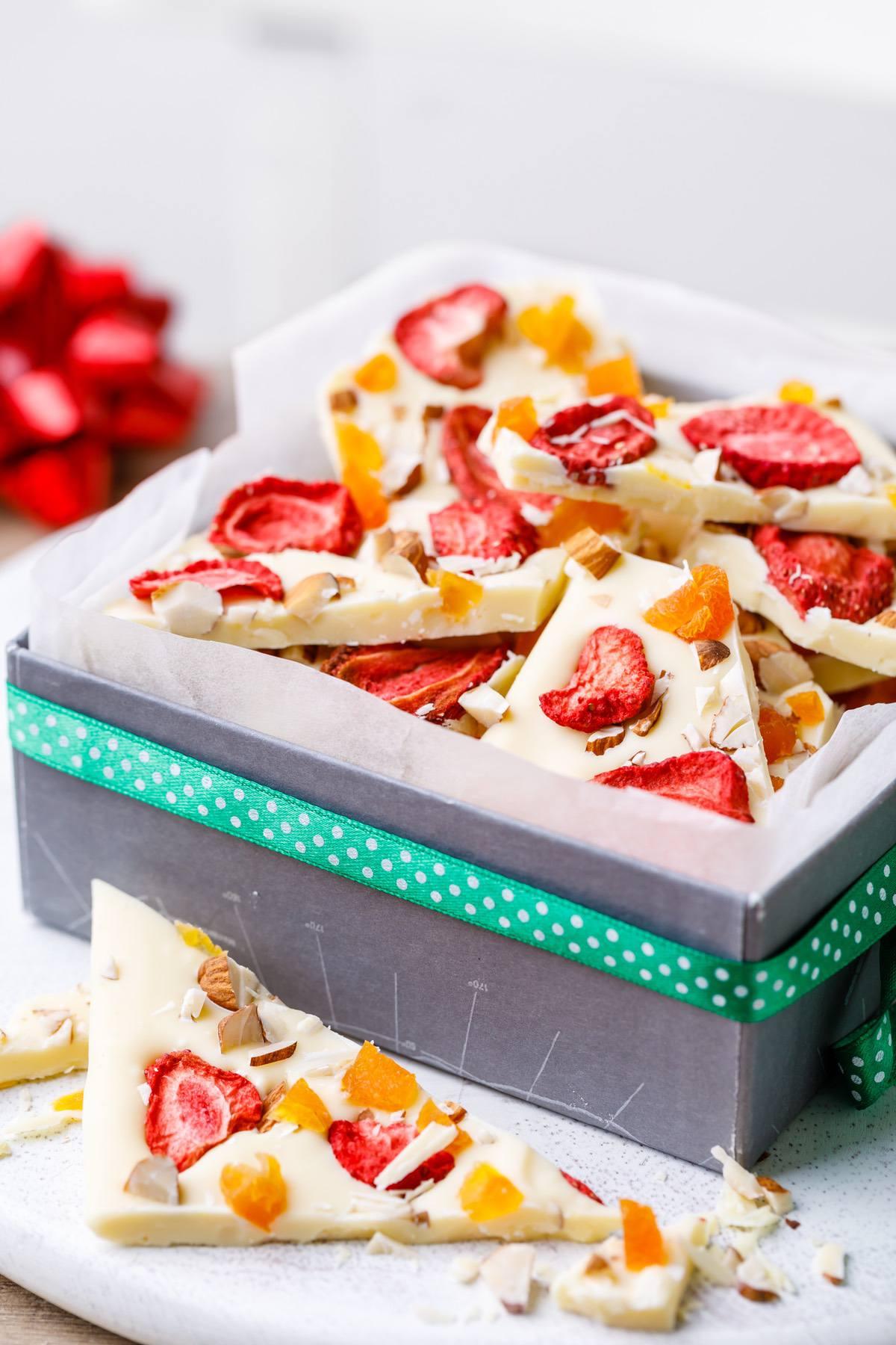 White Chocolate Strawberry Bark
